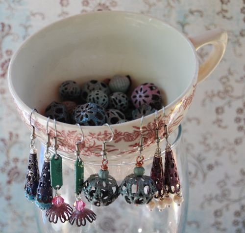 Enamel earrings and beads