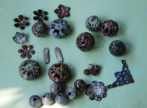 Torch fired enamel beads first time